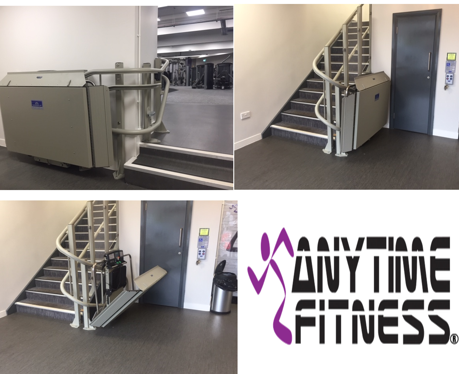 platform stairlifts in anytime fitness by Titan new lifts